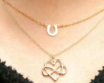Tiny Infinity Heart Necklace, Simple, Dainty