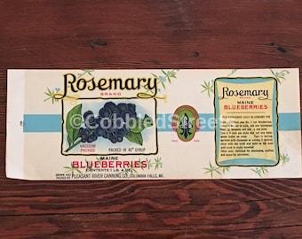 Vintage Blueberry Label from Rosemary Blueberries of Columbia Falls, Maine, Unused Blueberry Label, Vintage Ephemera, Maine Memorabilia