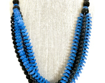 "Czech Art Deco Gablonz Blue & Black Glass Bead Necklace, 1920s 1930s, Cascading Strands, ""Blue Bell"" Beads, French Jet Glass , Gift for Her"