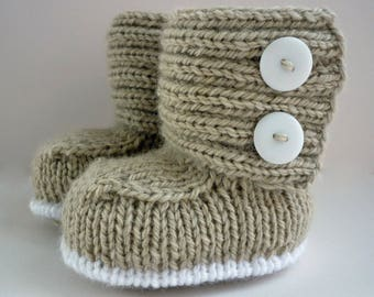 Knitting Pattern, Baby Booties, PDF Knitting Pattern, Modern Baby Booties Pattern, Knit Baby Boots PDF, modern baby knit pdf - JADEN