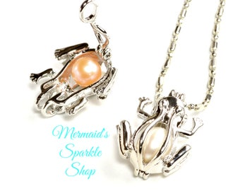 Frog Pearl Cage Frog Pendant Pearl Cage Frog Pearl Pendant Frog Jewelry Locket Frog Pendant Silver Pearl Cage, Pearl & Chain sold separately