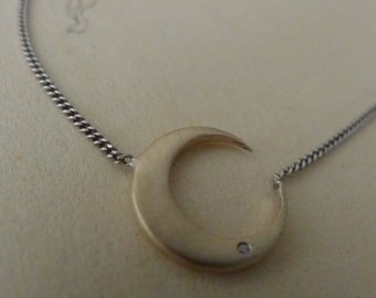 Hunter's Moon ~ sterling silver diamond necklace