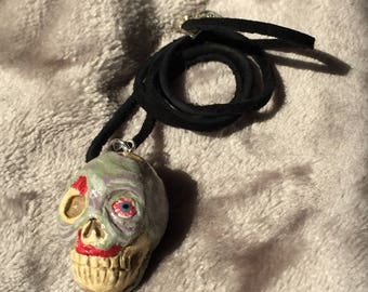 Zombie Pendant - handmade ooak polymer clay necklace