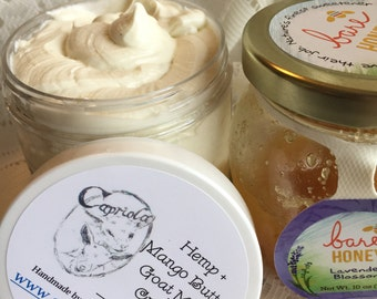 HEMP + Mango Goat Milk lotion | Honey + Lavender essential oil | moisturizing fragrant cream travel | 2 oz. natural whipped body butter
