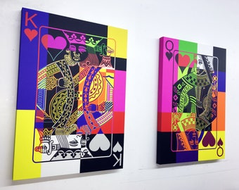 Pop Art King and Queen Playing Card Giclee Prints