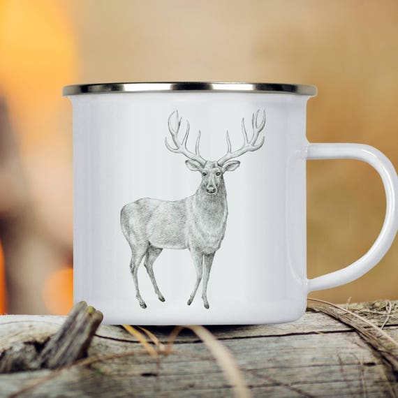 Deer Camp Cup - Illustrated Deer Enamel Mug - Dishwasher Safe