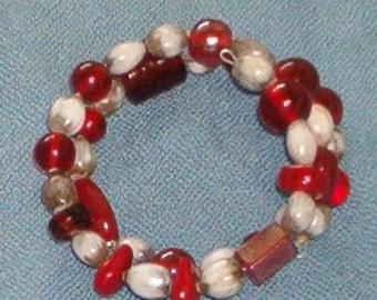 Handmade Light Color Hawaiian Job's Tears and Red Glass Beads Bracelet