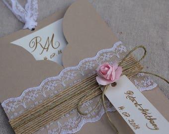 Invitation Pocket range. Romantic chic. Burlap