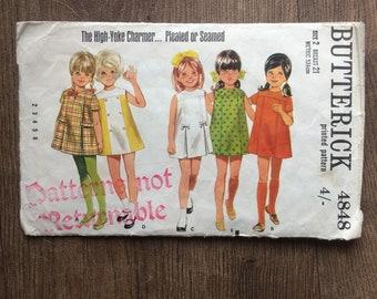 Vintage 1960's Butterick Sewing Pattern Childrens Mod Dress