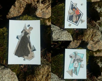 Lot card postcard DELUXE collage fashion / / FREE SHIPING