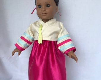Traditional Korean Hanbok for 18 inch doll