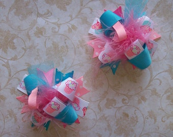 Cupcake Cutie--Hair Bows Set of 2---Mini Funky Fun Over the Top Bows---Pink,Turquoise and Cupcake ribbon