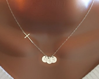 Sterling silver cross and discs necklace, personalized initial discs, personalized necklace, personalized gift