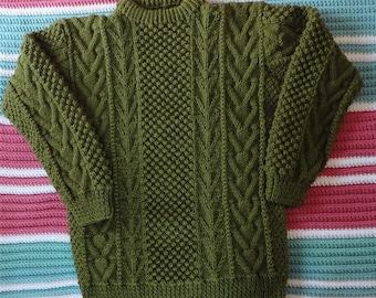 Olive Aran Sweater, hand-knit, acrylic yarn, Lady's Medium