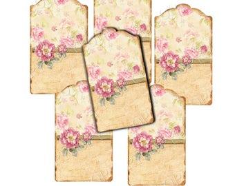 INSTANT DOWNLOAD - Rose Label Tags -   Digital Download - Printable  Digital Collage Sheet - Gift Tag - Junk Journal
