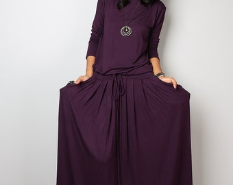 Maxi Dress -  Long Sleeved Dark Purple Modest Dress : MODEST Collection No.1s