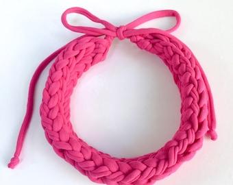 Bright pink braid necklace