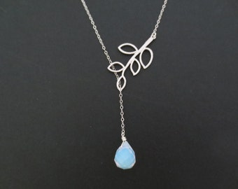 Sideways, Tree, Moonstone, Sterling silver, Chain, Necklace, Lovers, Best friends, Mom, Sister, Gift, Accessory, Jewelry