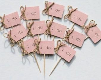 12 i do cupcake toppers, rustic i do cupcake picks, blush pink i do cupcake toppers, blush pink i do cupcake picks, blush pink cupcake picks
