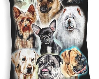 Throw Pillow, Collage of Dogs, size of 14x14 to 26x26 inches Fine Art Painting by Christopher Shellhammer