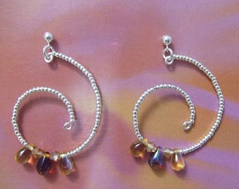 Silver spiral earrings and glass drops