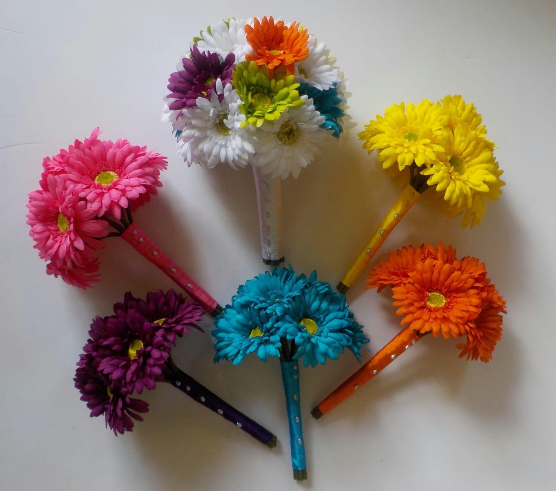 Rainbow Wedding Flowers 13 Piece Set Of Gerbera Daisy