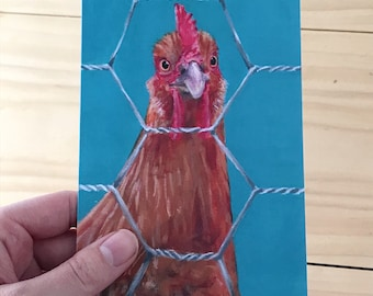 Chicken Wire Rhode Island Red Chicken Greeting Card