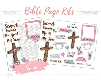 """Printable Bible Journaling Page Kit - """"Saved"""" - Complete kit for Bible Pages or Journals. Fits all Journaling Bibles."""
