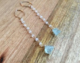Aquamarine Earrings - Moonstone Earrings - Silver Moonstone Earrings with Aquamarine - Gold Moonstone Earrings with Aquamarine