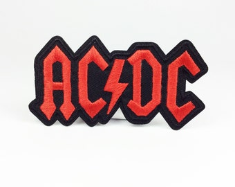 ACDC Rock band patch punk patch The lightning logo embroidered patch Full embroidery iron on patch sew on patch (A92)