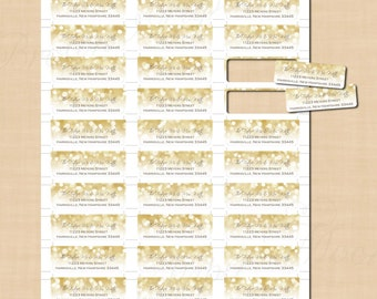 White Gold Sparkles Return Address Labels (3/4x2-1/4): Text-Editable in Word, Printable on Avery Products 8257, 6870, Instant Download
