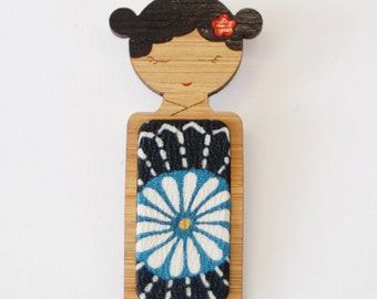 Blue Midnight Flower // Kokeshi Brooch // Vintage Kimono Fabric Inlay
