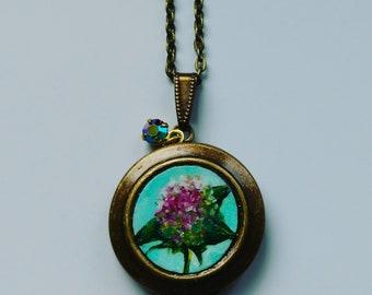 Original painted hydrangea locket