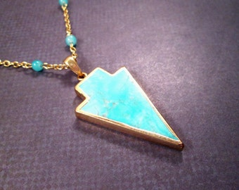 Gemstone Necklace, Turquoise Blue Jade Arrowhead Stone Pendant, Glass Beaded Gold Chain Necklace, FREE Shipping U.S.