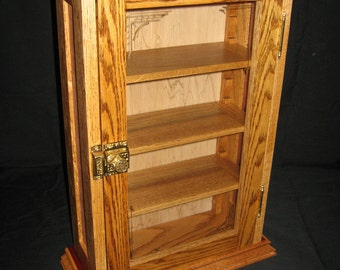 Handcrafted Oak Wall Mounted Display Cabinet