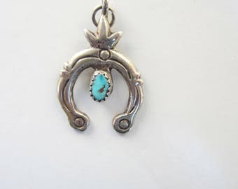 Native American Sterling Silver and Turquoise Naja Pendant - 2320