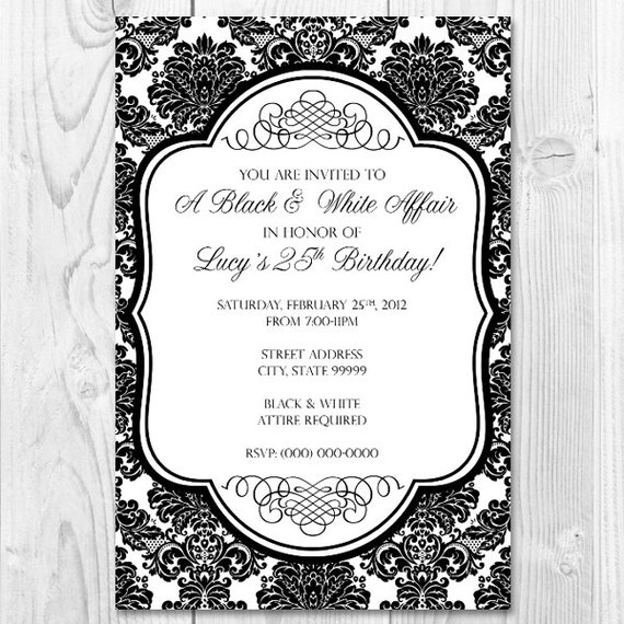 Printable Black and White Affair Party Invitation Design 4x6