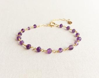Amethyst Bracelet, Purple Stone Bracelet, February Birthstone Bracelet, Violet Bracelet, Purple Bracelet, Purple Jewelry for Women, GB2