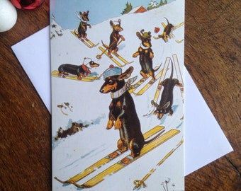 Skiing Dachshund Lovely Vintage Christmas Card Repro