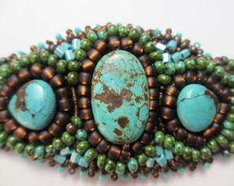 Turquoise Magnesite and copper bracelet