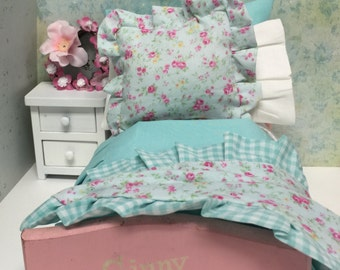 Vintage  Doll Bed and Shabby Chic Aqua Full Bedding Set