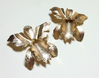 Matching pair of vintage orchid brooches, orchid brooch, orchid pin, lady slipper brooch, brooch set, gold orchid brooch, 1960s