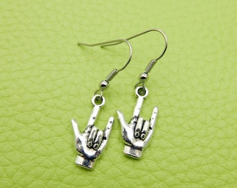 I love you Sign language Earrings stainless steel