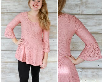 Pink Lace Peplum Top, Bell Sleeve Tops, Clothing Gift for Women, Bell Sleeves, Pink Blouses, Tops for Women, Lace Blouse, Lace Tops, Peplum