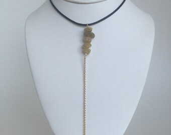 leather chocker with sagenite stone chips, leather chocker, chocker, leather and silver chocker,