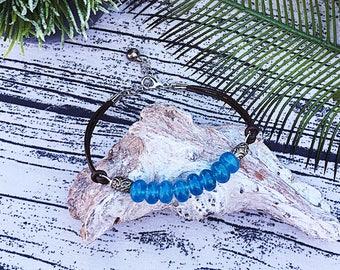Leather and Aqua quartz bracelet