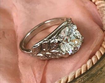 Old Mine Cushion Cut Diamond Ring
