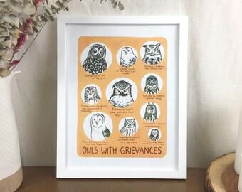 Owls with Grievances- 11x14 Digital Print