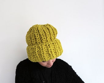 Knitted hat - yellow, knit cap, women chunky beanie, big knit beanie, yellow beanie, cosy knit hat, oversized winter hat