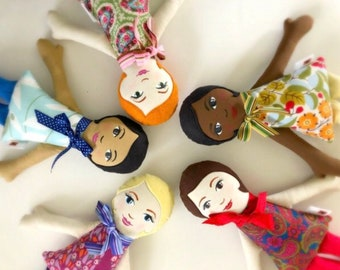 Custom Made Cloth Doll, you choose hair color, eye, skin and dress color